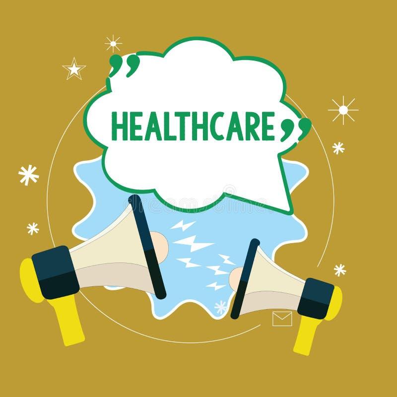 Tekstteken die Gezondheidszorg tonen De conceptuele foto de voorziening van medische behandeling aan individuen verbetert welzijn vector illustratie