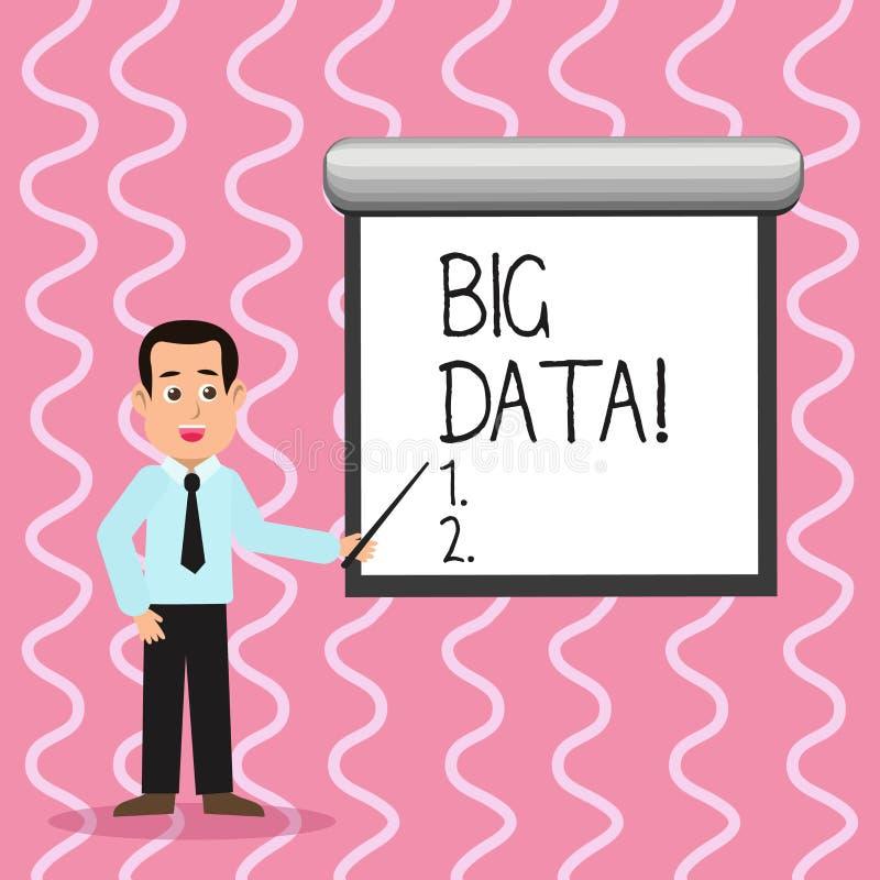 Tekstteken die Grote Gegevens tonen Conceptuele foto uiterst grote reeksen die kunnen worden geanalyseerd om de patronenmens in S stock illustratie