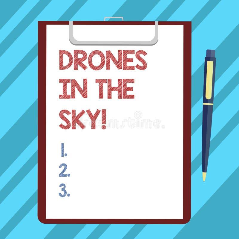 Tekstteken die Hommels in de Hemel tonen Het conceptuele moderne apparaat die van de foto Luchthelikopter beelden en videospatie  vector illustratie