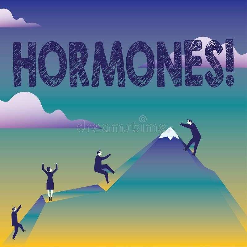 Tekstteken die Hormonen tonen Conceptuele foto Regelgevende die substantie in een organisme wordt geproduceerd om cellenzaken te  stock illustratie