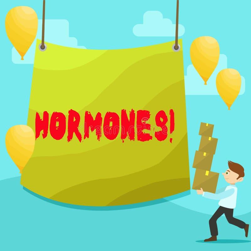Tekstteken die Hormonen tonen Conceptuele foto Regelgevende substantie die in een organisme wordt geproduceerd om de cellenmens t royalty-vrije illustratie
