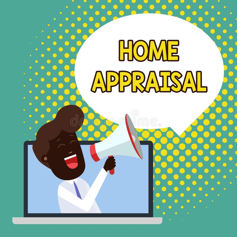 Tekstteken die Huisschatting tonen De conceptuele foto bepaalt echte waard en de Evaluatie van bezitsmens het Spreken vector illustratie
