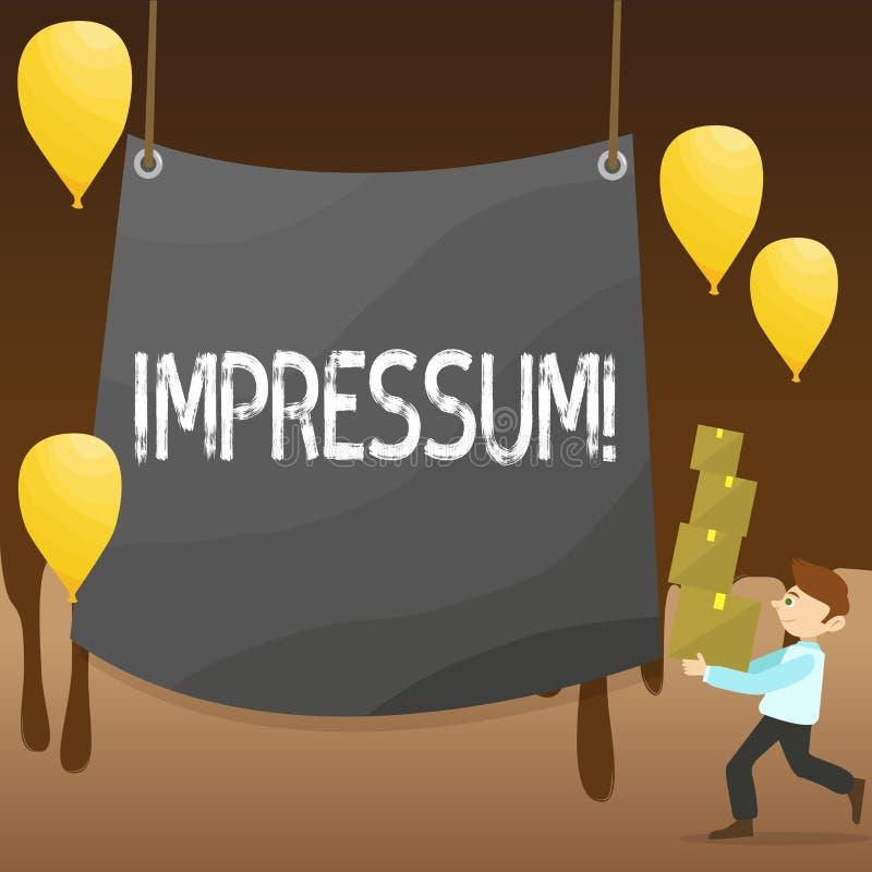 Tekstteken die Impressum tonen De conceptuele foto maakte indruk op de Gegraveerde van de de verklaringseigendom van Afdrukgerana stock illustratie