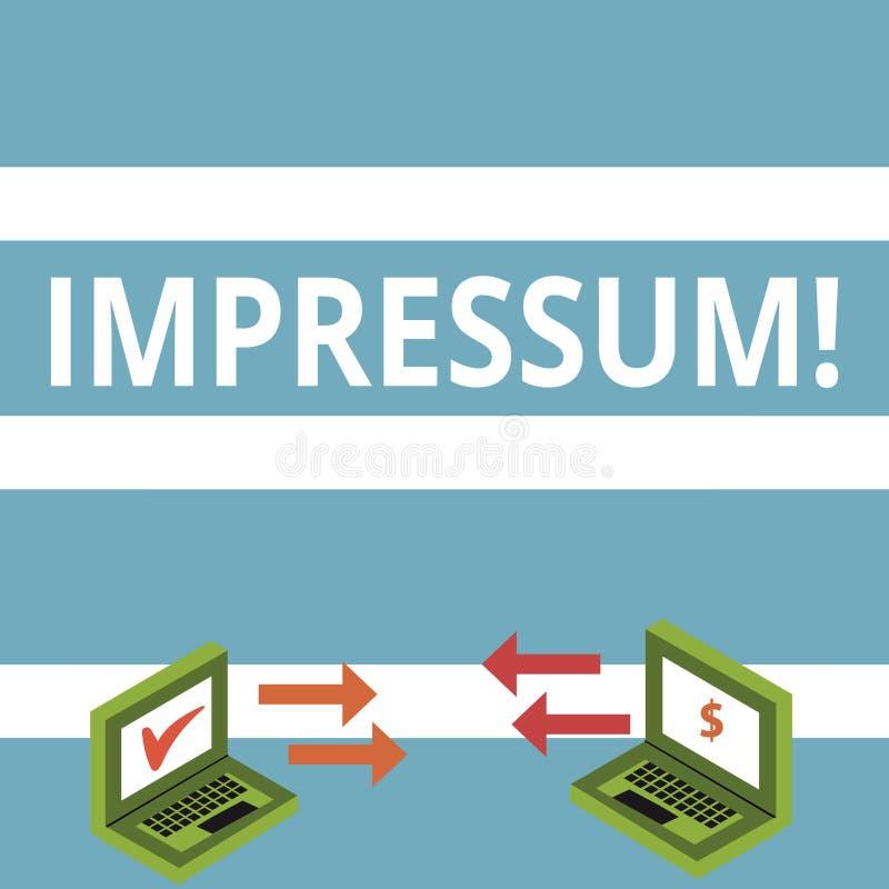 Tekstteken die Impressum tonen De conceptuele foto maakte indruk op het Gegraveerde auteurschap van de de verklaringseigendom van royalty-vrije illustratie
