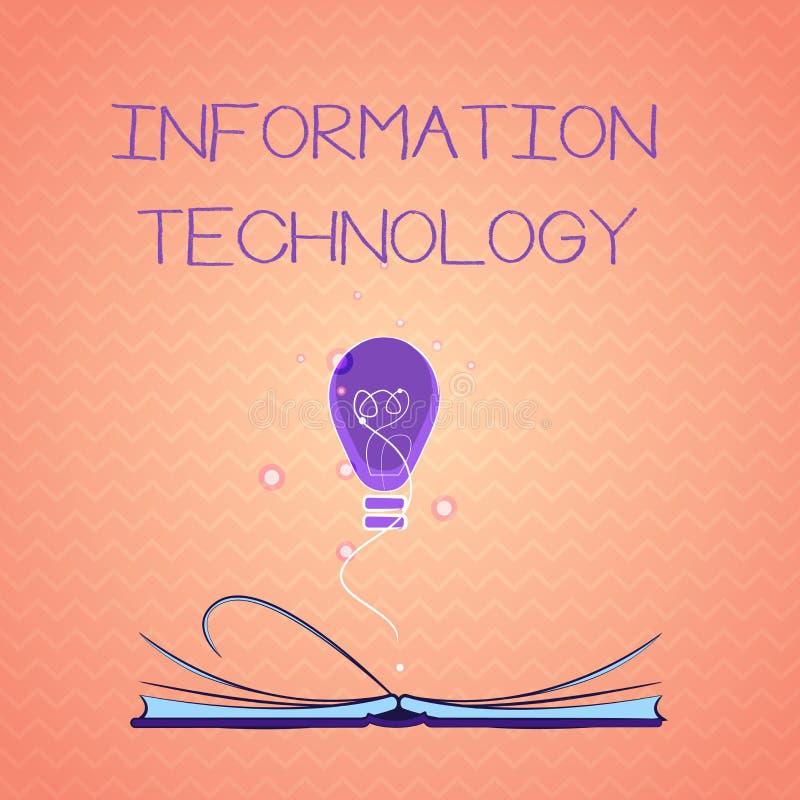 Tekstteken die Informatietechnologie tonen De conceptuele Op te slaan Systemen van het fotogebruik winnen Transmit terug verzende stock illustratie