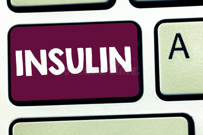 Tekstteken die Insuline tonen Het conceptuele foto Eiwit alvleesklier- hormoon regelt de glucose in het bloed stock afbeelding