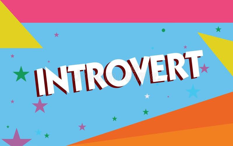 Tekstteken die Introvert tonen De conceptuele foto neigt te zijn het binnenkomende draaien of concentreerde meer interne gedachte royalty-vrije illustratie