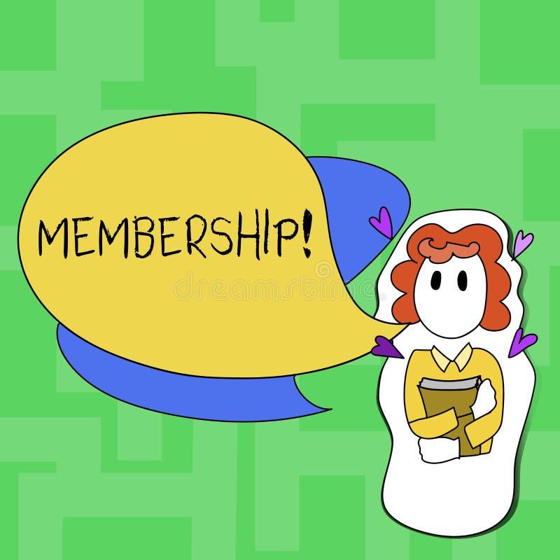 Tekstteken die Lidmaatschap tonen De conceptuele foto die een liddeel van een groep of team wordt lid van een organisatie zijn stock illustratie
