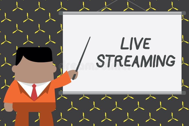 Tekstteken die Live Streaming tonen De conceptuele foto brengt levende videodekking van een gebeurtenis over Internet over royalty-vrije illustratie