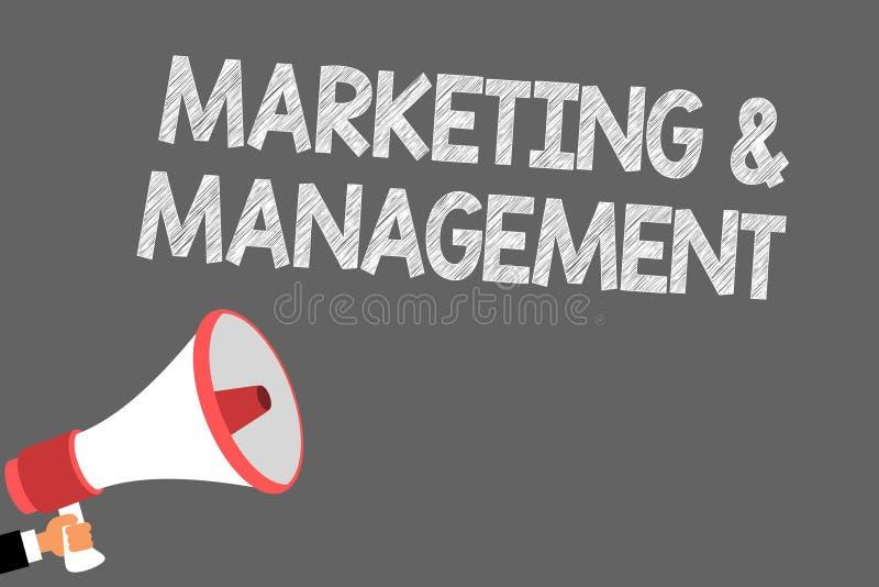 Tekstteken die Marketing en Beheer tonen Conceptueel fotoproces om strategieën te ontwikkelen voor de spreker van productsymbolen vector illustratie