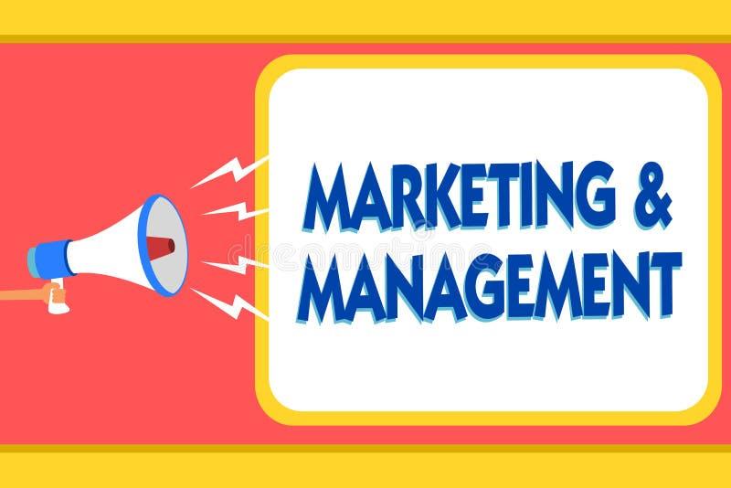 Tekstteken die Marketing en Beheer tonen Conceptueel fotoproces om strategieën voor de waarschuwingssignalen van het productberic stock illustratie