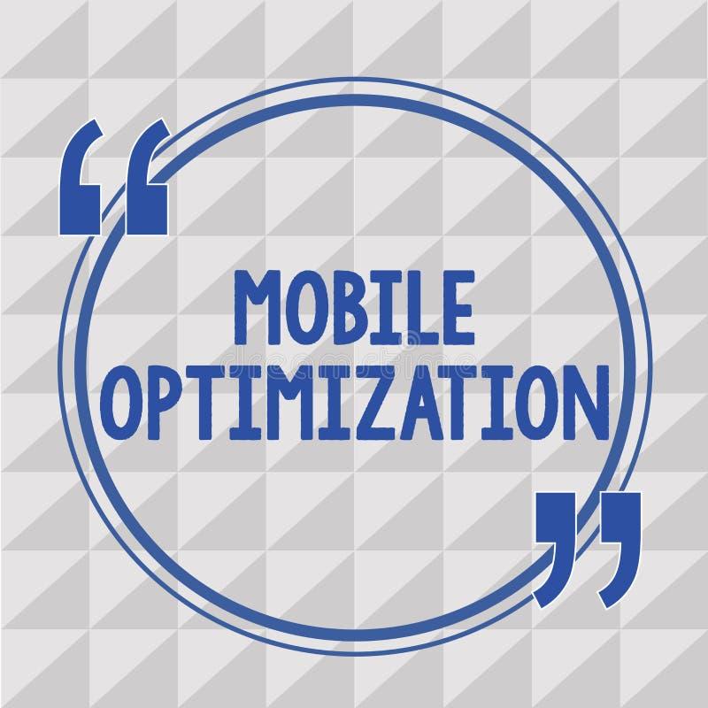 Tekstteken die Mobiele Optimalisering tonen De conceptuele die Inhoud van de fotoplaats voor Handbediende of Tabletapparaten opni royalty-vrije illustratie