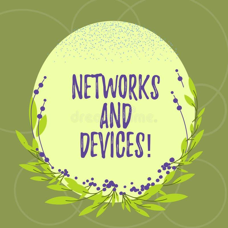 Tekstteken die Netwerken en Apparaten tonen Conceptuele die foto wordt gebruikt om computers of andere elektronische apparatenspa stock illustratie