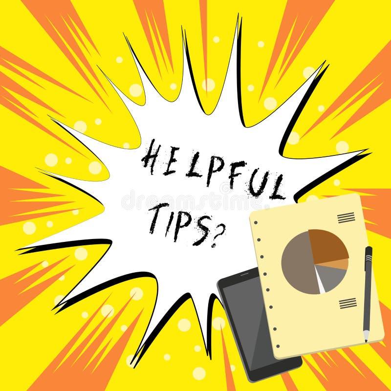 Tekstteken die Nuttige Uiteindenvraag tonen Conceptueel die fotogeheime informatie of advies wordt gegeven om nuttige kennis te z stock illustratie