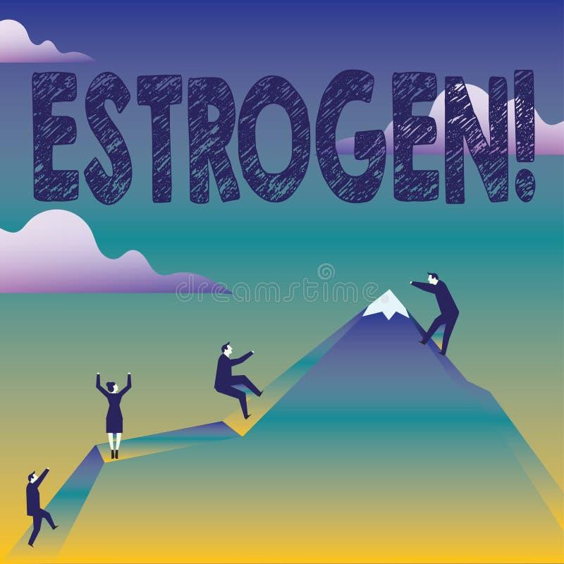 Tekstteken die Oestrogeen tonen De conceptuele fotogroep hormonen bevordert de ontwikkeling van kenmerkenzaken royalty-vrije illustratie