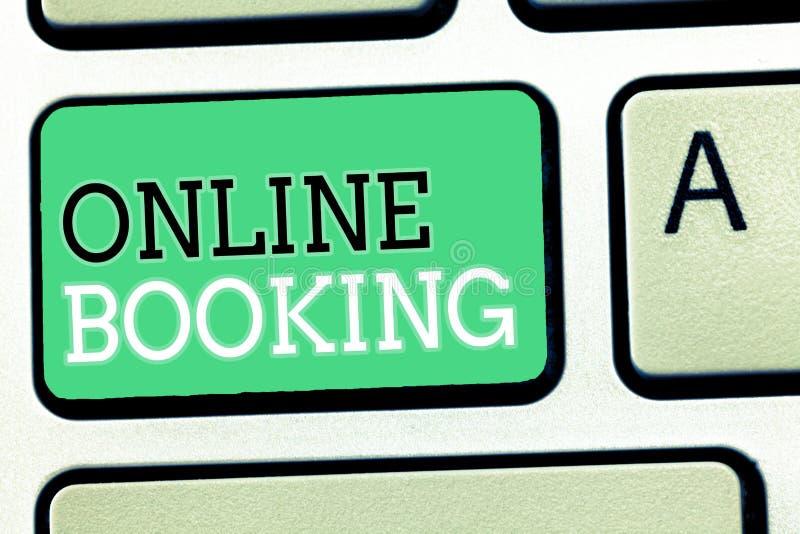 Tekstteken die online het Boeken tonen Conceptuele fotoreserve door Internet-het Vliegtuigkaartje van de Hotelaanpassing royalty-vrije stock foto