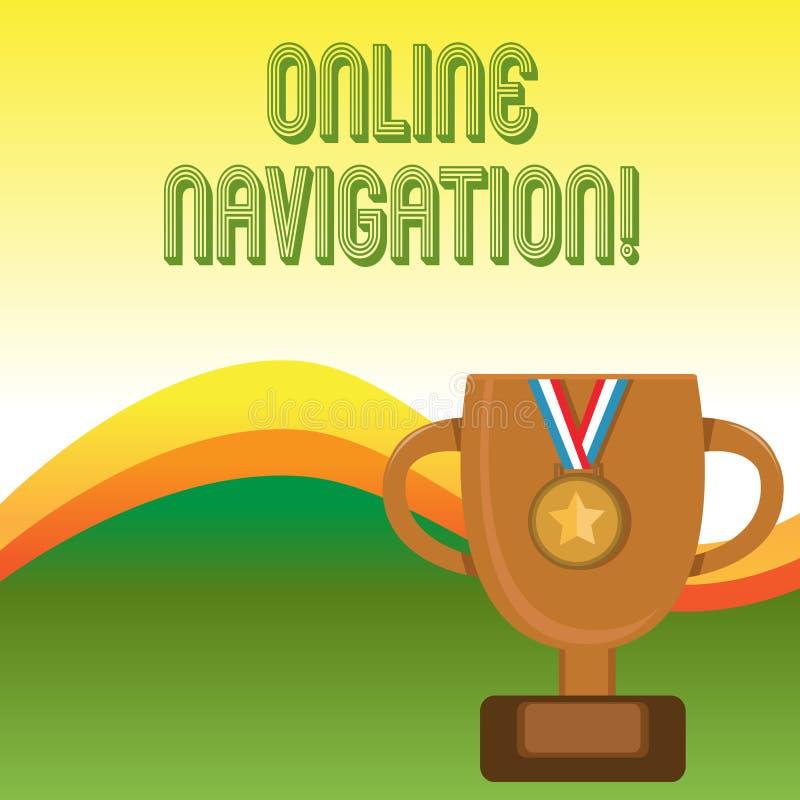 Tekstteken die Online Navigatie tonen Conceptuele foto die een netwerk van informatiemiddelen navigeren in het Web stock illustratie