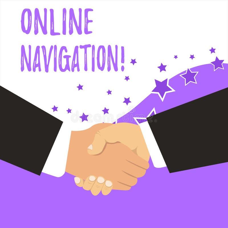 Tekstteken die Online Navigatie tonen Conceptuele foto die een netwerk van informatiemiddelen navigeren in het Web vector illustratie