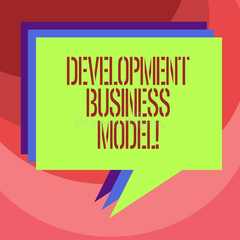 Tekstteken die Ontwikkelings Bedrijfsmodel tonen Conceptuele fotoreden van hoe een organisatie Stapel van Toespraakbel creeerde vector illustratie