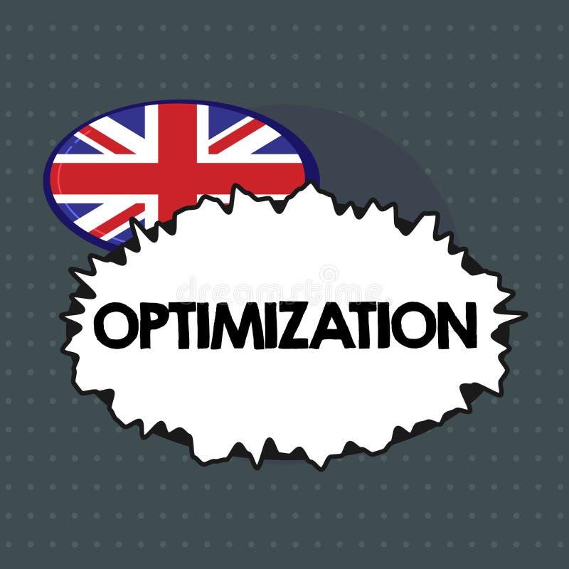 Tekstteken die Optimalisering tonen Conceptuele foto die het beste of meest efficiënte gebruik van een situatiemiddel maken royalty-vrije illustratie