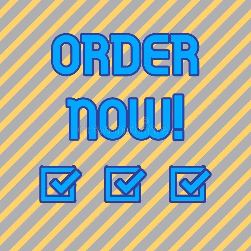 Tekstteken die Orde nu tonen De conceptuele foto bevestigde verzoek door één partij aan een andere om of Naadloze Diagonaal te ve royalty-vrije illustratie