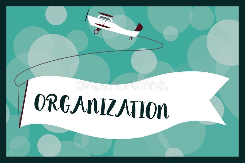 Tekstteken die Organisatie tonen Conceptuele foto Georganiseerde groep het tonen met bepaalde doelzaken vector illustratie