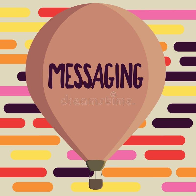 Tekstteken die Overseinen tonen Conceptuele fotocommunicatie met anderen door het Babbelen van berichtentexting vector illustratie