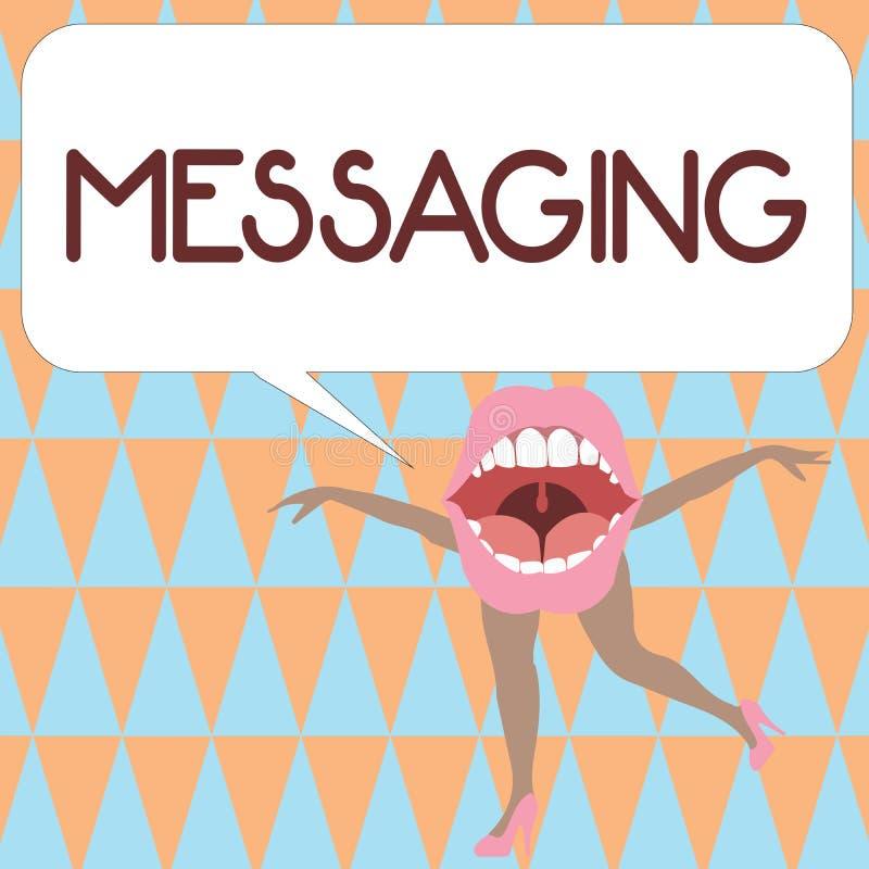 Tekstteken die Overseinen tonen Conceptuele fotocommunicatie met anderen door het Babbelen van berichtentexting royalty-vrije illustratie