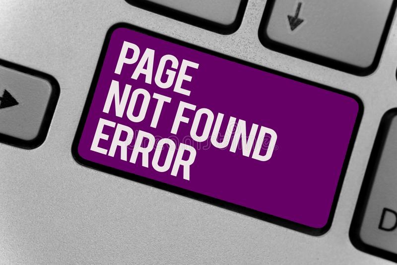 Tekstteken die Pagina Gevonden niet Fout tonen Het conceptuele fotobericht lijkt wanneer het onderzoek naar website niet Toetsenb royalty-vrije stock afbeeldingen
