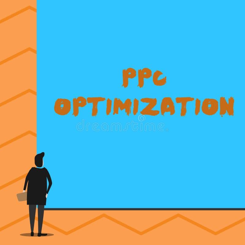 Tekstteken die Ppc Optimalisering tonen Conceptuele fotoverhoging van zoekmachineplatform voor loon per de tribunes van de klikme vector illustratie