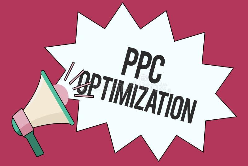 Tekstteken die Ppc Optimalisering tonen Conceptuele fotoverhoging van zoekmachineplatform voor loon per klik stock illustratie