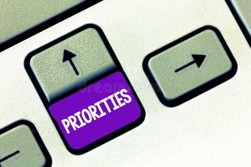 Tekstteken die Prioriteiten tonen Conceptuele fotodingen die als belangrijkere dringend dan anderen worden beschouwd royalty-vrije stock fotografie