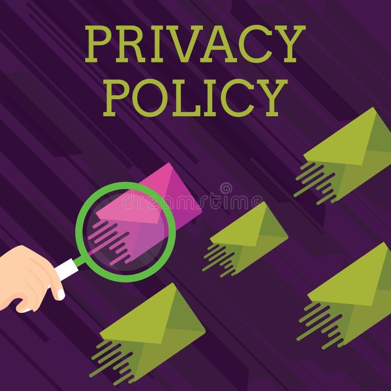 Tekstteken die Privacybeleid tonen Conceptueel fotodocument dat verklaart hoe een organisatie cliënten het Overdrijven behandelt royalty-vrije illustratie