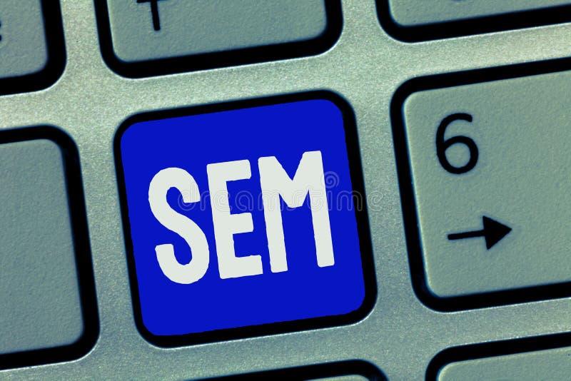 Tekstteken die Sem tonen Conceptuele fotobevordering van websites door hun zicht tijdens onderzoek te verhogen royalty-vrije stock afbeeldingen