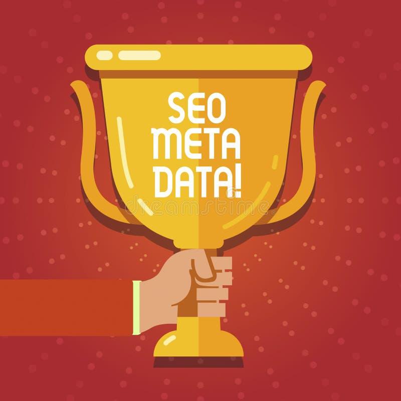 Tekstteken die Seo Meta Data tonen Conceptuele de Optimalisering van de fotozoekmachine Online marketing strategie vector illustratie