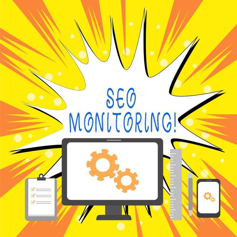 Tekstteken die Seo Monitoring tonen Conceptuele foto het proces om het zicht van uw website te optimaliseren stock illustratie