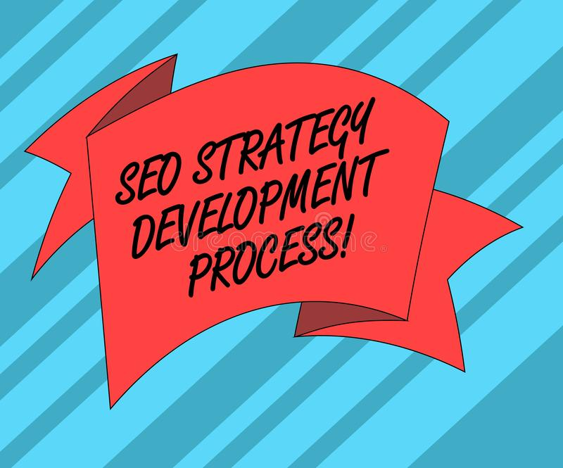 Tekstteken die Seo Strategy Development Process tonen De conceptuele Optimalisering van de fotozoekmachine ontwikkelt Gevouwen 3D vector illustratie