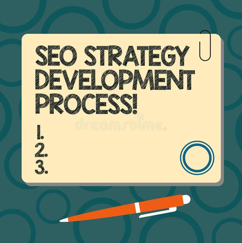 Tekstteken die Seo Strategy Development Process tonen De conceptuele Optimalisering van de fotozoekmachine ontwikkelt Leeg Vierka vector illustratie