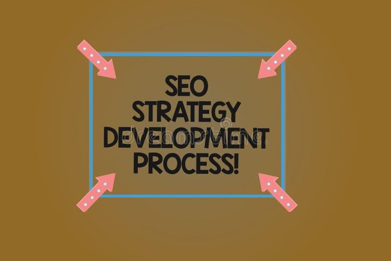 Tekstteken die Seo Strategy Development Process tonen De conceptuele Optimalisering van de fotozoekmachine ontwikkelt Vierkant Ov vector illustratie