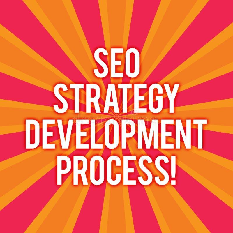 Tekstteken die Seo Strategy Development Process tonen De conceptuele Optimalisering van de fotozoekmachine ontwikkelt Zonnestraal vector illustratie