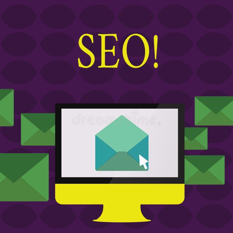 Tekstteken die Seo tonen De conceptuele Optimalisering die van de fotozoekmachine Keywording op de markt brengen stock illustratie