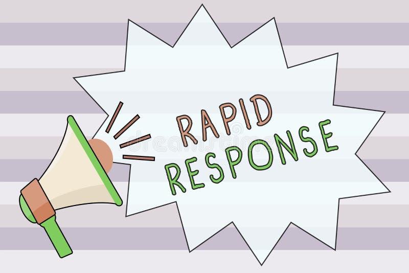 Tekstteken die Snelle Reactie tonen Conceptuele het team Snelle hulp van de foto Medische noodsituatie tijdens ramp stock illustratie
