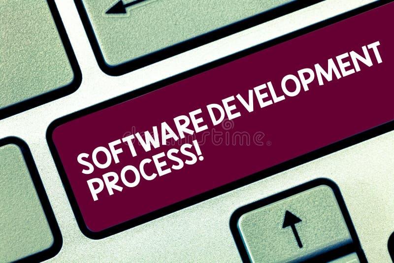 Tekstteken die Software-ontwikkelingproces tonen Conceptueel fotoproces om een het Toetsenbordsleutel van het softwareproduct te  royalty-vrije stock foto's