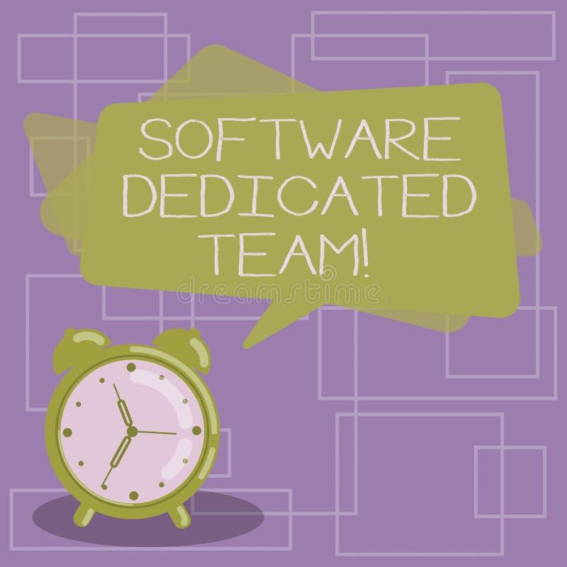 Tekstteken die Software Specifiek Team tonen Conceptuele foto bedrijfsbenadering van app en Webontwikkelingsspatie vector illustratie