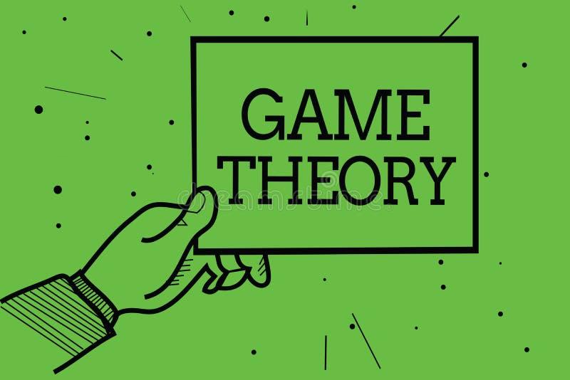Tekstteken die Speltheorie tonen Conceptuele fototak van wiskunde betreffende analyse van het document van de de handholding van  vector illustratie
