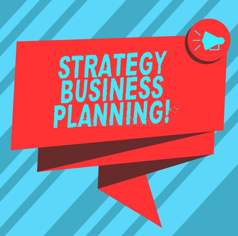 Tekstteken die Strategie Bedrijfs Planning tonen De conceptuele foto schetst een organisatie s algemene 3D Gevouwen richting is stock illustratie