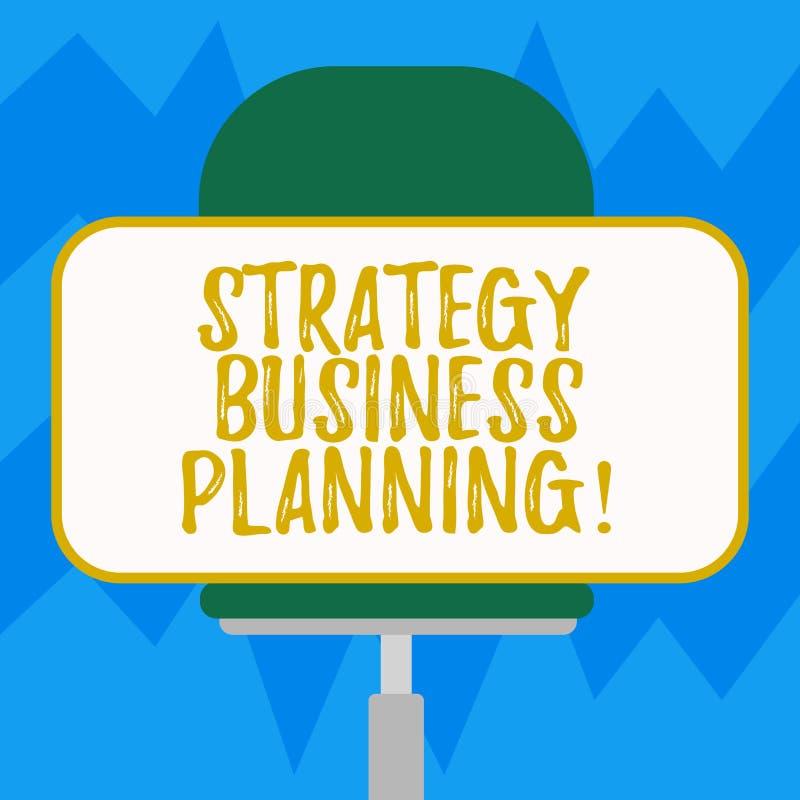 Tekstteken die Strategie Bedrijfs Planning tonen De conceptuele foto schetst een organisatie s algemene richtingsspatie is stock illustratie