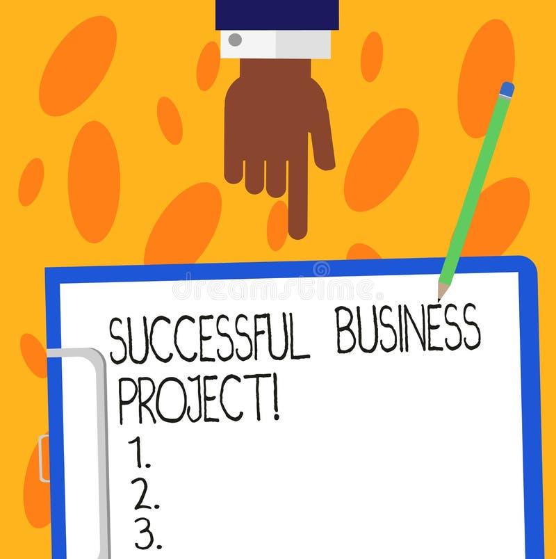 Tekstteken die Succesvol Zakelijk project tonen Conceptuele foto het Bereiken projectdoelstellingen binnen de analysehand van pro stock illustratie