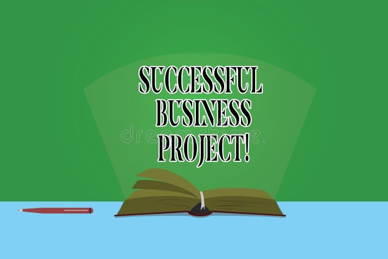Tekstteken die Succesvol Zakelijk project tonen Conceptuele foto het Bereiken projectdoelstellingen binnen de Pagina's van de pro royalty-vrije illustratie