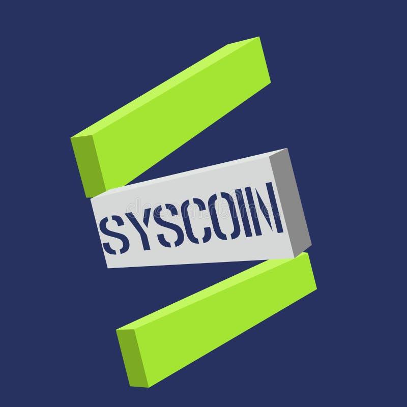 Tekstteken die Syscoin tonen Conceptueel Digitaal de munt Verhandelbaar teken van fotocryptocurrency Blockchain vector illustratie